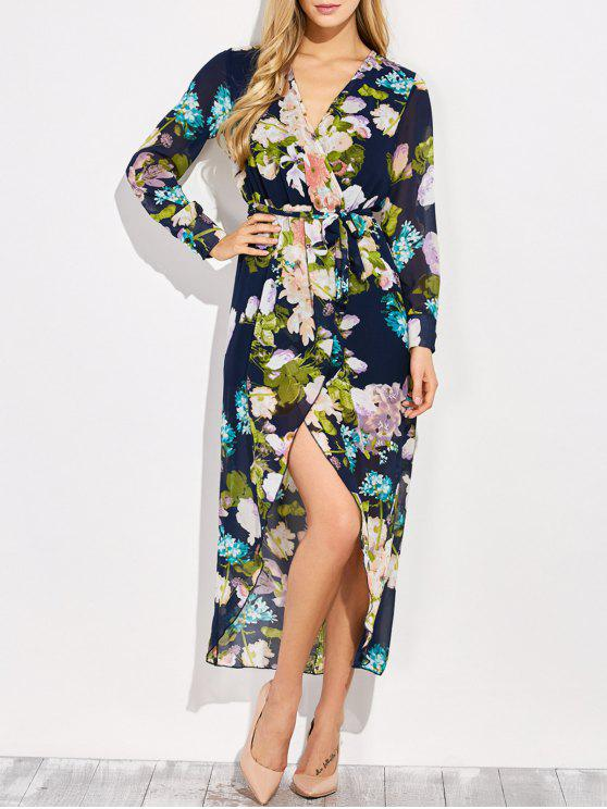 trendy Floral V Neck Asymmetric Surplice Maxi Dress - FLORAL S
