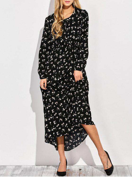 Vestido largo con cuello redondo de la flor minúscula - Negro S