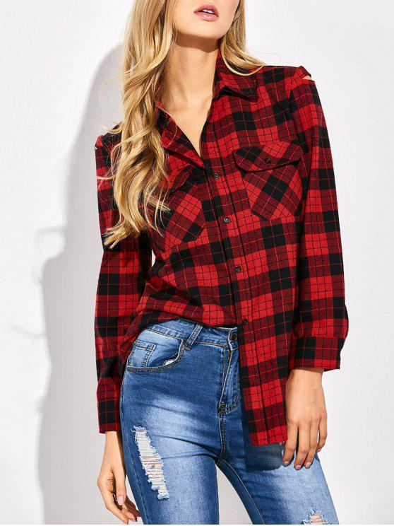 outfits Tartan Print Casual Shirt - RED WITH BLACK M