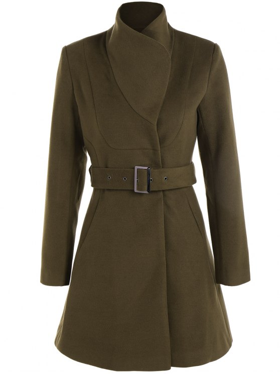 unique Belted High Neck Skater Coat - ARMY GREEN XS