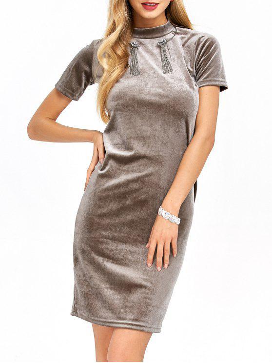 best Short Sleeve Velvet Dress - KHAKI S