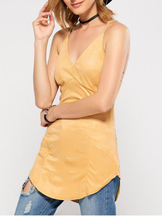 chic Suede Criss Back Slip Top - YELLOW M