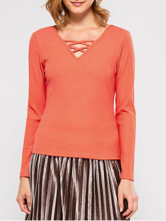 unique Ribbed Long Sleeve Lace Up Tee - JACINTH XL
