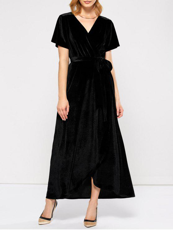 sale Velvet Wrap Asymmetric Short Sleeve Maxi Dress - BLACK L