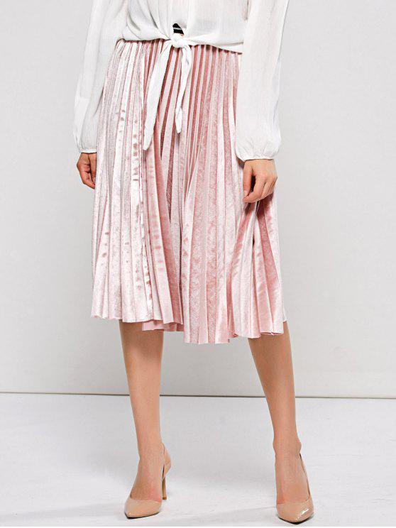 buy Accordion Pleat Velvet Skirt - PINK ONE SIZE
