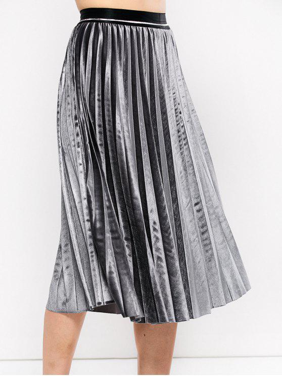 Acordeón plisado de la falda de terciopelo - Gris Única Talla