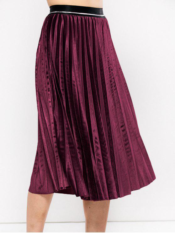 Acordeón plisado de la falda de terciopelo - Burdeos Única Talla