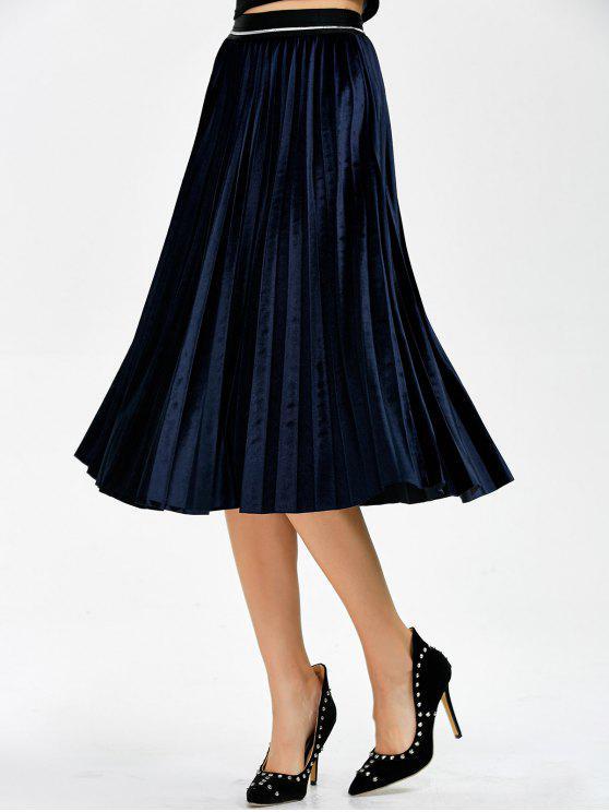 Acordeón plisado de la falda de terciopelo - Teal Única Talla
