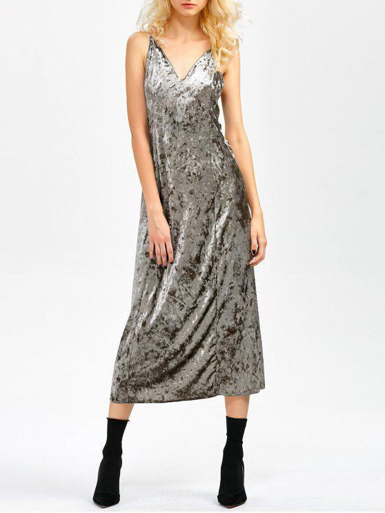 Midi Kleid aus Samt mit Schlitz - Grau L