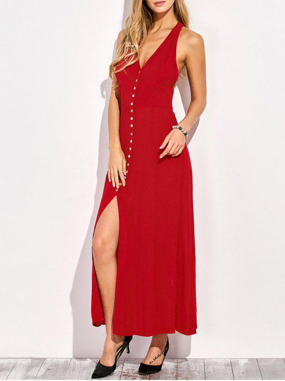 fashion Racerback Plunging Neck Front Slit Maxi Dress - RED XL