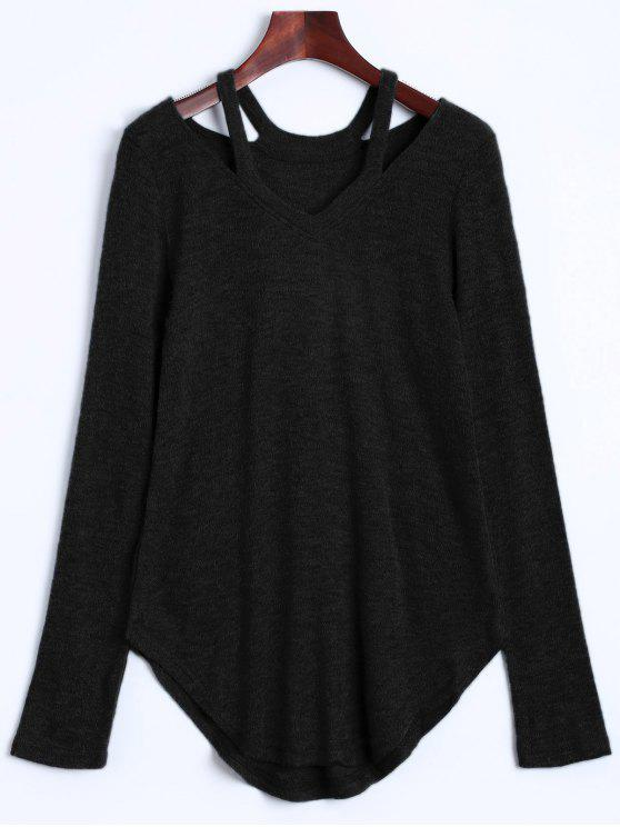 online Cut Out Pullover Sweater - BLACK XL