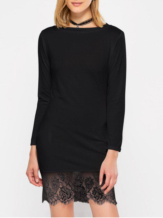 women Lace Spliced Slash Neck Dress - BLACK L
