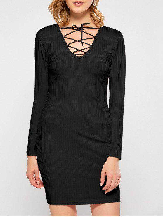 chic Lace Up Plunging Neck Bodycon Party Dress - BLACK L