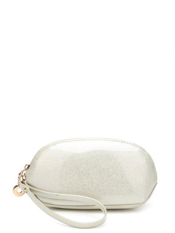 Glitter Zip Cerca Wristlet couro envernizado - Quase Branco
