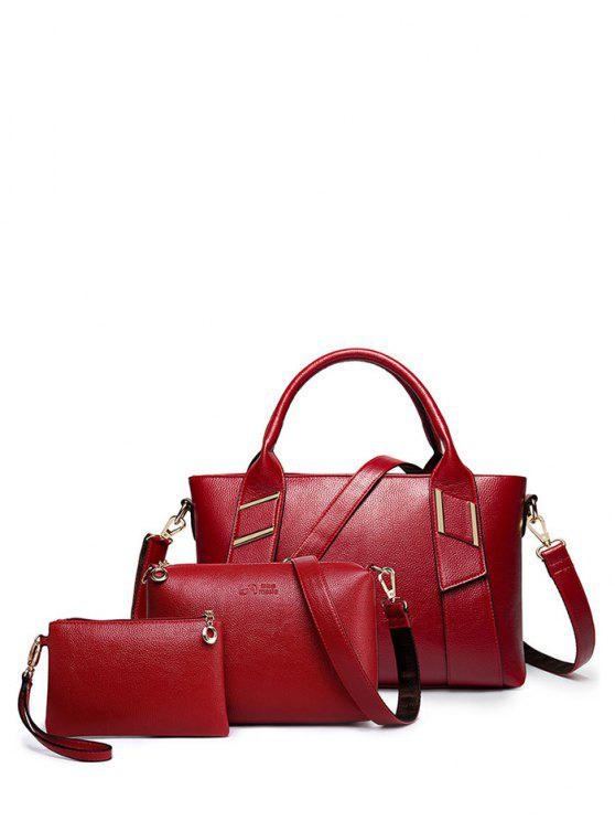 fancy Textured PU Leather Handbag Set - WINE RED