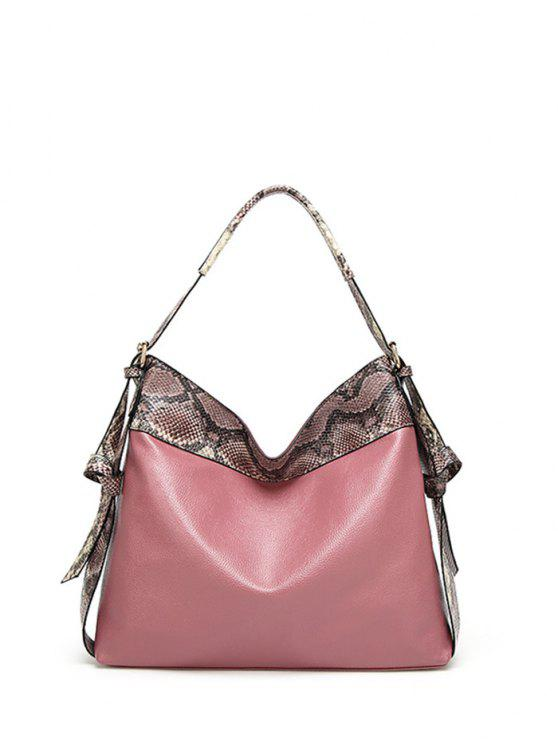 buy Snake Print Panel Shoulder Bag - PINK