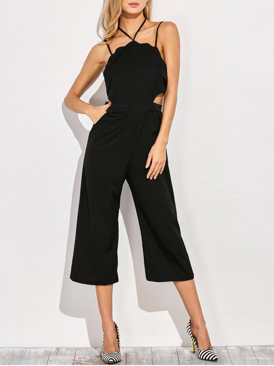 hot Loose Cutout Slip Jumpsuit - BLACK M