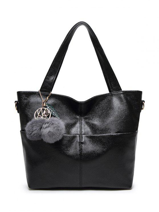 Borsa in pelle Shouder Pompons PU - Nero