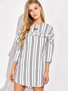 Round Neck Ruffles Striped Shift Dress - White Xl