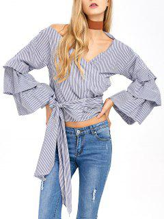 Layered Sleeve Striped Wrap Blouse - Blue And White L