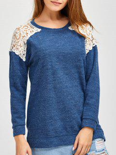 Lace Spliced ​​Slit Sweater - Bleu M