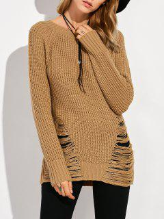 Ripped Chunky Crew Neck Sweater - Brown Xl