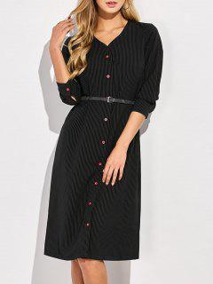 Single-Breasted Striped A-Line Dress - Black L