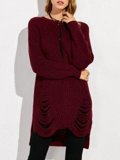 Crew Neck Ripped Chunky High Low Sweater - Wine Red L