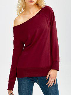 One Shoulder Pullover Sweatshirt - Wine Red Xl