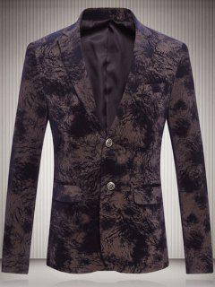 Lapel Single Breasted Tie Dye Corduroy Blazer - Black Brown L