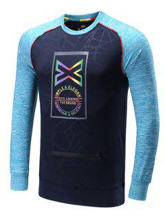 Colorful Edging Graphic Print Raglan Sleeve Sports Sweatshirt - Blue M