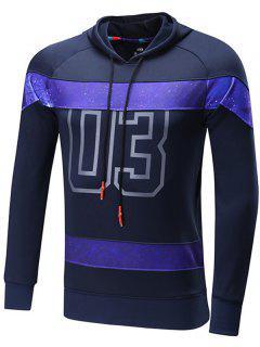 Starry Sky Spliced Number Print Raglan Sleeve Sports Hoodie - Deep Blue L