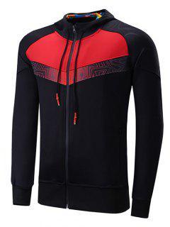 Zipper Design Color Block Spliced Raglan Sleeve Sports Hoodie - Black M