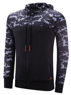 Reversible Style Zipper Design Camouflage Spliced Raglan Sleeve Sports Hoodie - Black Xl