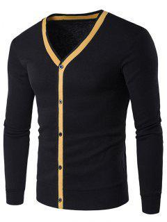 Button Up V Neck Contrast Trim Cardigan - Black M