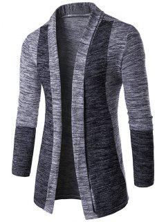 Space Dye Contrast Panel Open Front Cardigan - Light Gray M