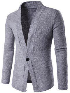 Knitted Texture One Button Cardigan - Gray L