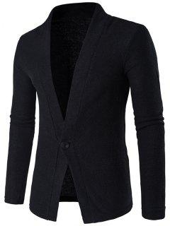 Knitted Texture One Button Cardigan - Black M