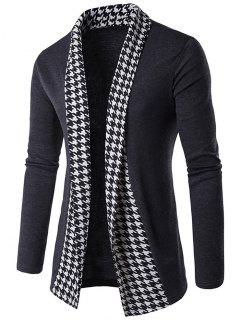 Knitted Houndstooth Open Front Cardigan - Gray Xl
