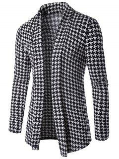Houndstooth Knitted Open Front Cardigan - Black Xl