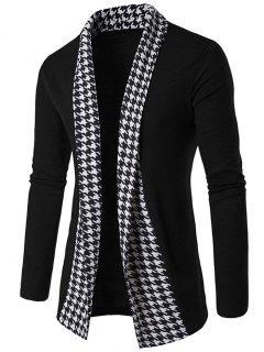 Knitted Houndstooth Open Front Cardigan - Black L