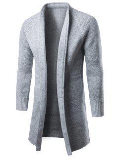 Raglan Sleeve Open Front Drape Cardigan - Gray 2xl