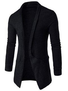 Pocket Texture Open Front Cardigan - Black L