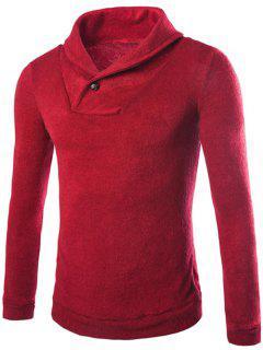 Shawl Collar Pullover Sweater - Burgundy L