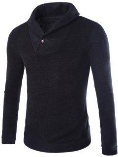 Shawl Collar Pullover Sweater - Black M