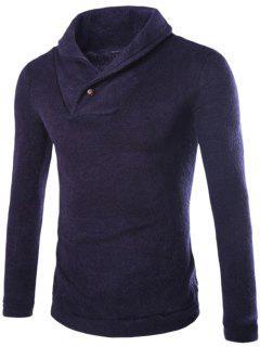 Shawl Collar Pullover Sweater - Cadetblue L