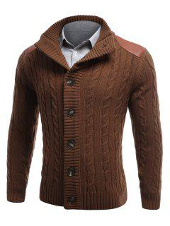 Shoulder Patch Button Front Twist Knit Cardigan - Coffee L