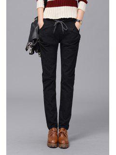 Casual Elastic Waist Straight Pants - Black 4xl