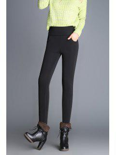 Slim Fit Wool Blend High Waist Pencil Pants - Black M