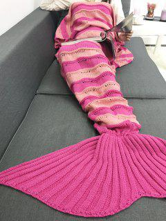 Thicken Stripe Knitted Wrap Mermaid Tail Blanket - Sangria